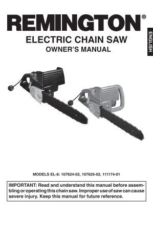 gardenline electric chainsaw instructions
